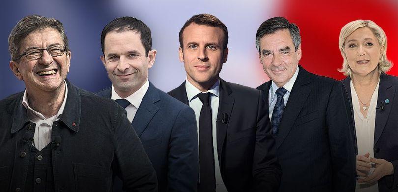 Hamon, Fillon, Le Pen, Melenchon, Macron - 2017