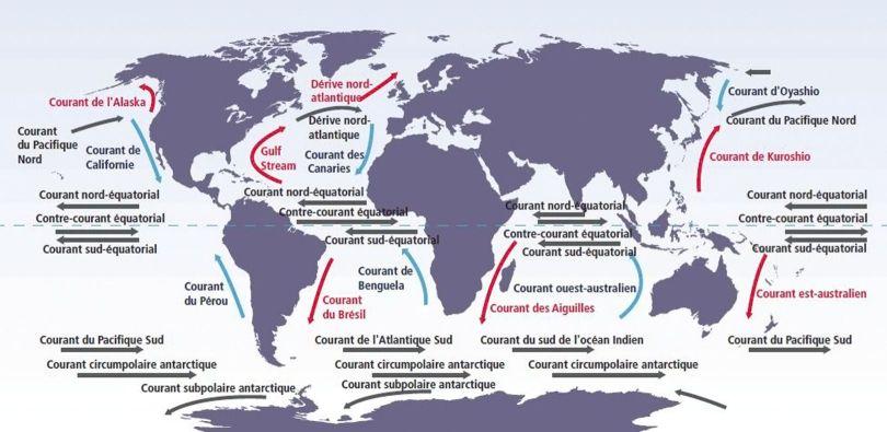 Carte des courants marins