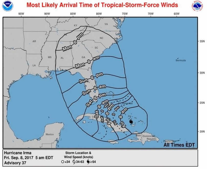 Ouragan Irma - Hurricane - Projection prévisionnelle - 3