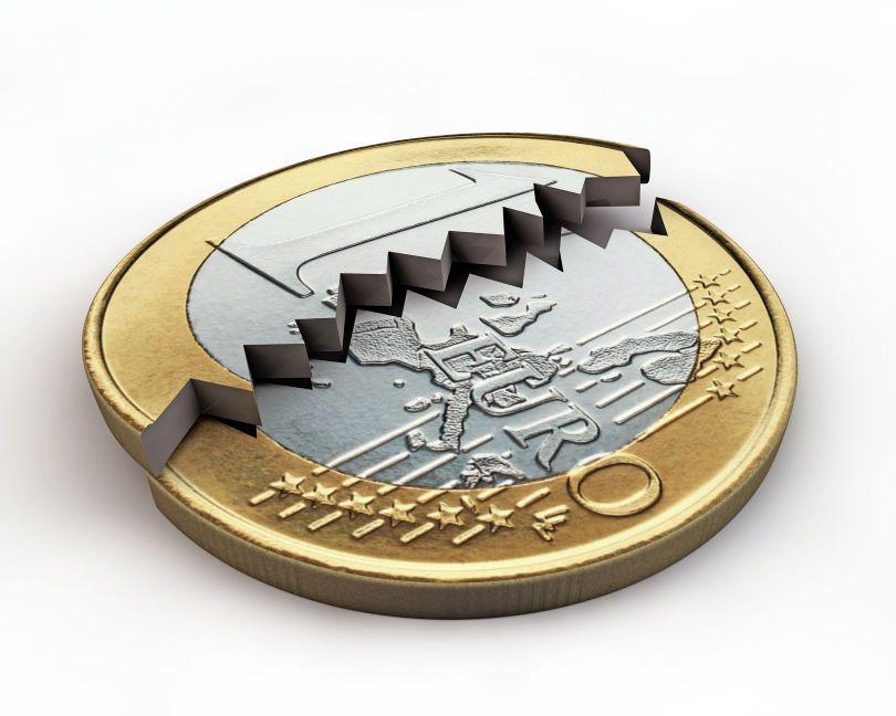 Pièce euro brisée - Crise financière