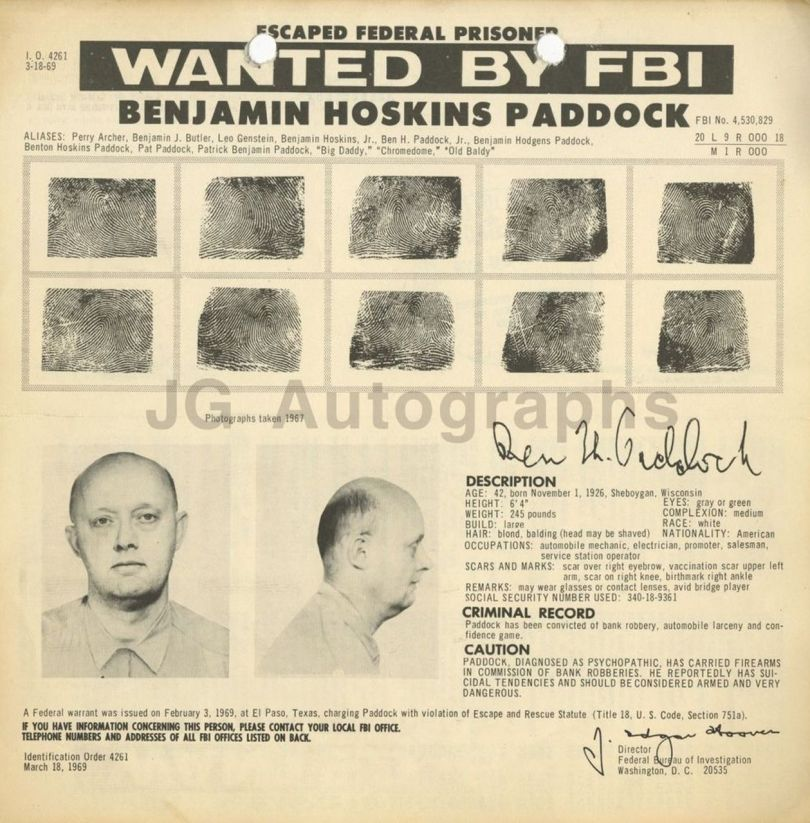 Benjamin Paddock - Wanted - FBI- Hold-up - Banque - 1969
