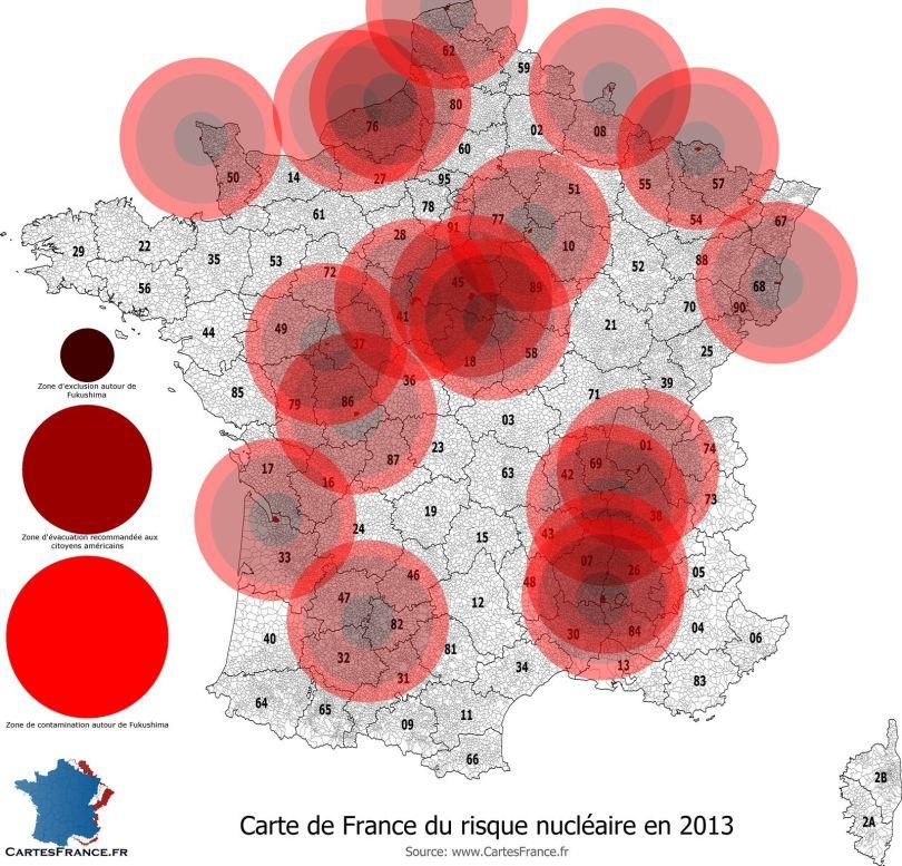 Carte de France du risque nucléaire en 2013