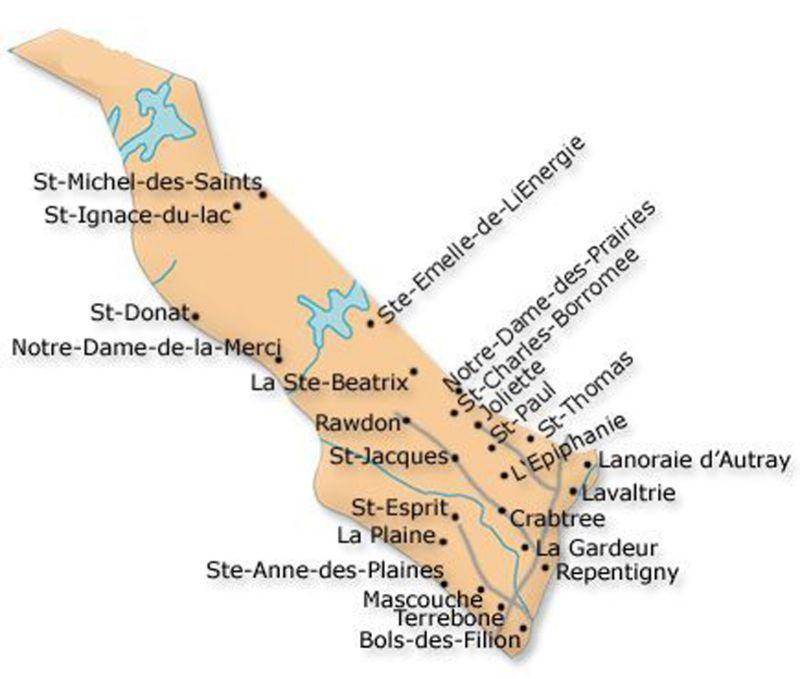 Map - Carte - Lanaudière - Québec - Canada