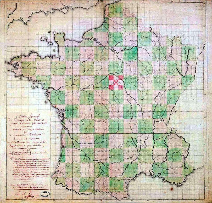 Carte de France en damier (1789)