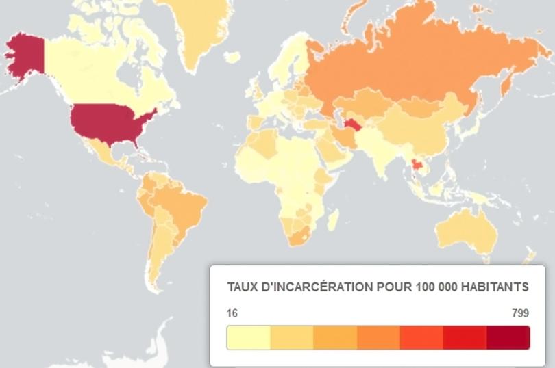 Carte mondiale du taux d_incarcération - 1