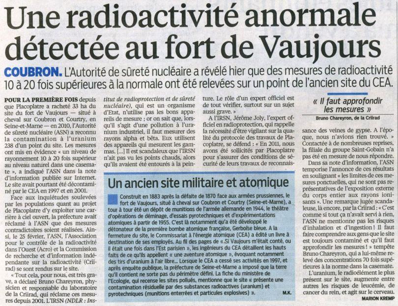 CEA - Fort de Vaujours - Journal