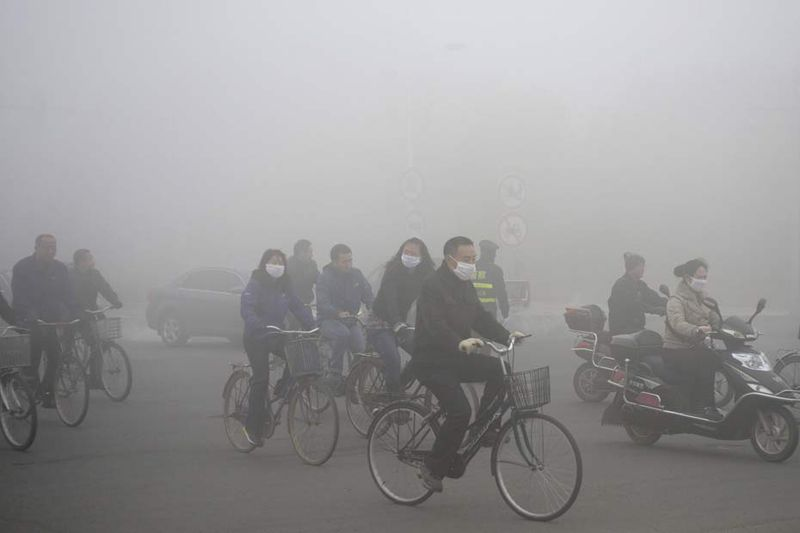 Pollution - Chine - Vélo - Maque