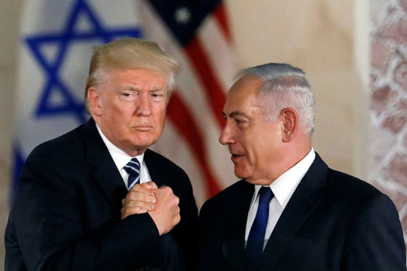 U.S. President Donald Trump and Israeli Prime Minister Benjamin Netanyahu shake hands after Trump's address at the Israel Museum in Jerusalem