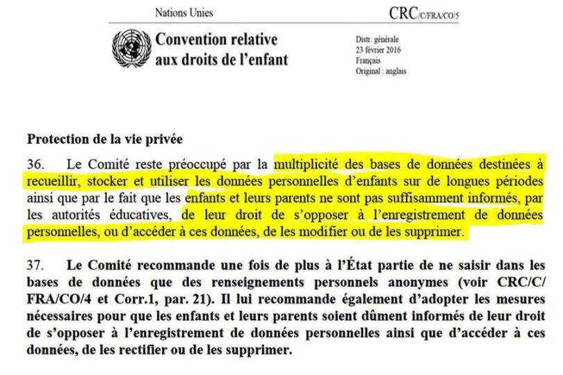 Protection de la vie privée - Enfants - Nations unies
