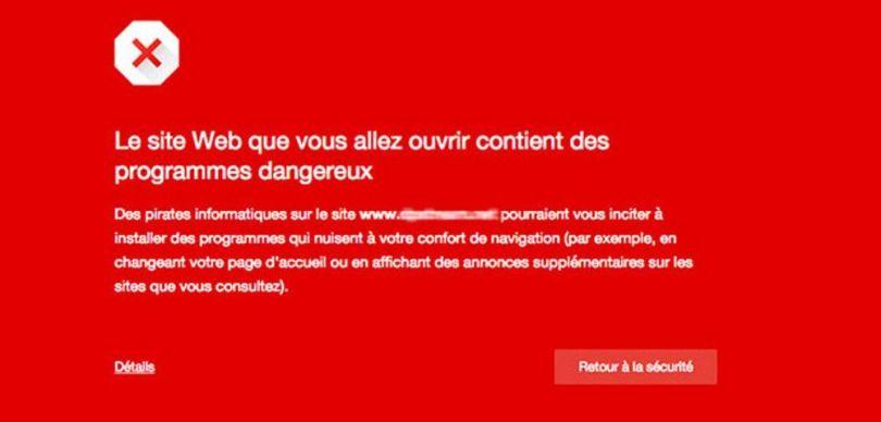 Ecran rouge - Site piraté