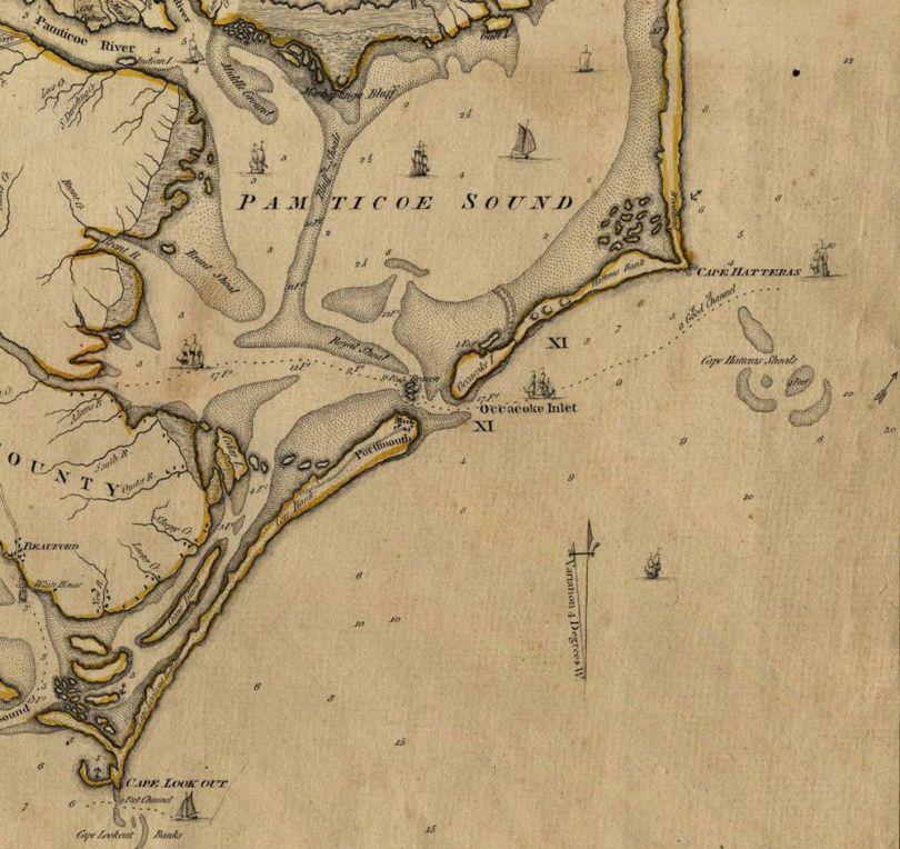 Barbe Noire - Carte de l_île d_Ocracoke datant de 1775