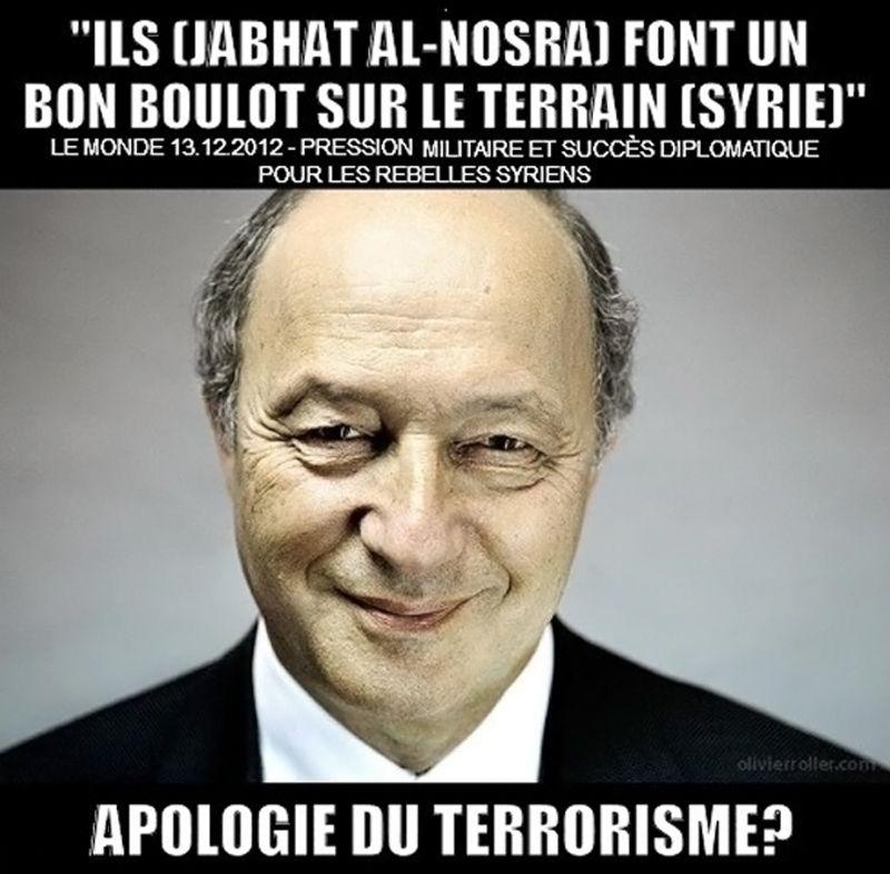 Laurent Fabius – Le Monde – Apologie du terrorisme