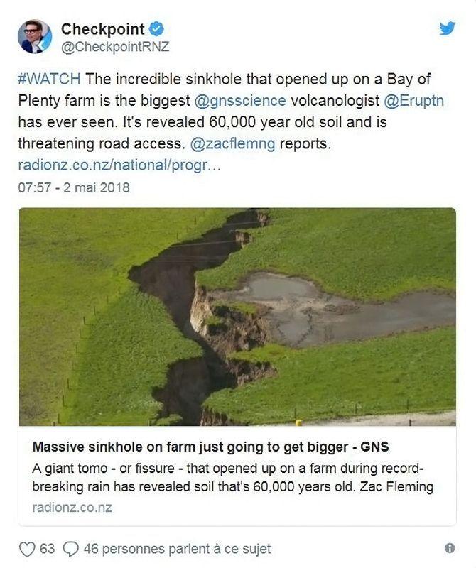Twitte - Massive sinkhole - Nouvelle-Zélande