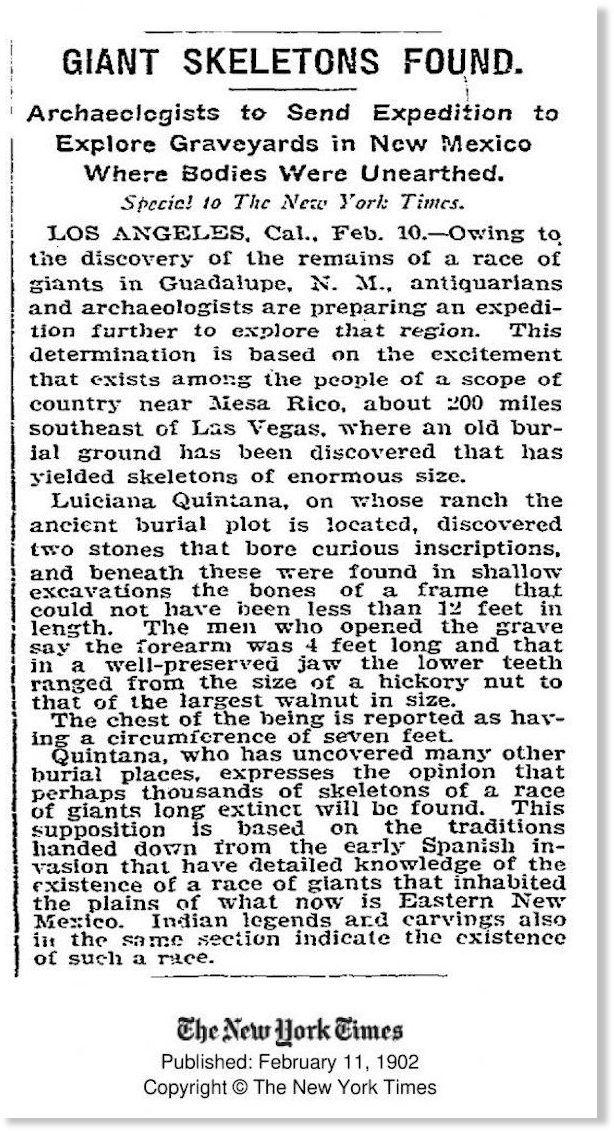 Article de presse – Giant Skeletons Found