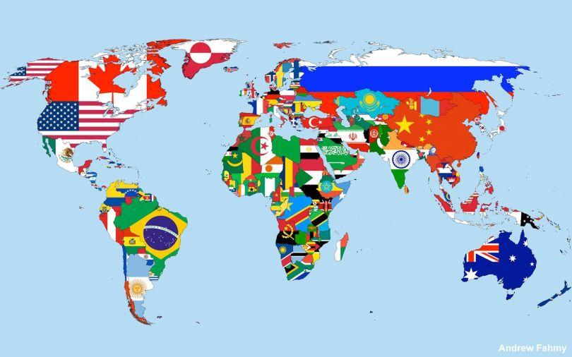 Carte monde - Drapeau