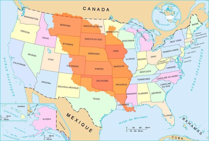 Louisiane - Map - USA - 2