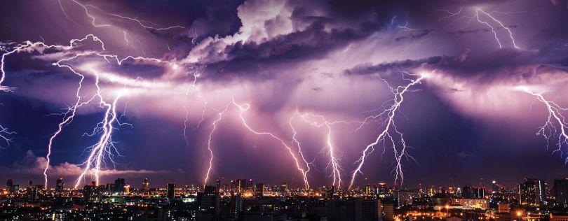 orage - eclair - ville
