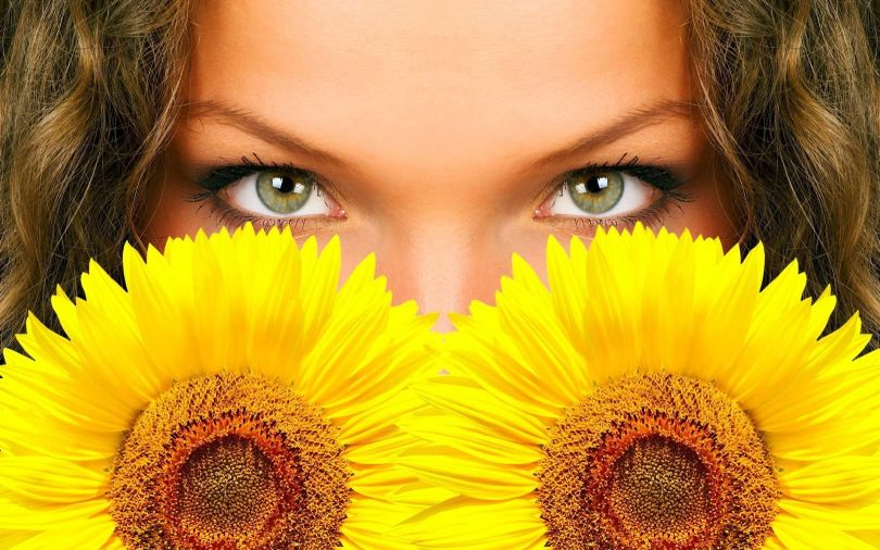 yeux - femmes - tournesols