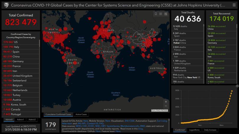 Coronavirus – World Map – 31.03.20 – 06.18 pm