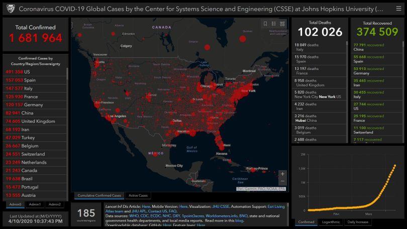 Coronavirus – USA Map – 10.04.20 – 10.37 pm
