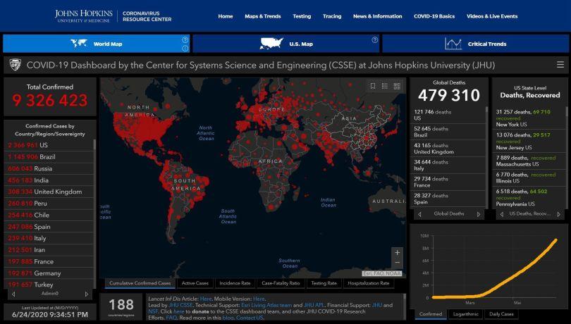 Coronavirus – World Map – 24.06.20 – 09.34 pm